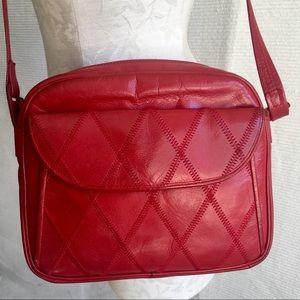 VTG 70s Saks Crossbody Leather Patchwork Purse